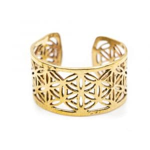 Verstelbare Ring Flower of Life Goudkleurig (10 mm)