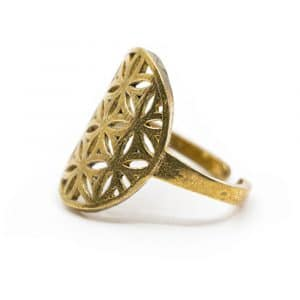 Verstelbare Ring Flower of Life Goudkleurig (20 mm)