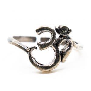 Authentieke Ring OHM Messing Verstelbaar Zilverkleurig