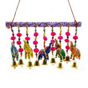 Decoratieve Slinger 5 Stoffen Olifanten met Belletjes Horizontaal