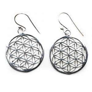 Flower of Life Oorhangers 925 Zilver (20 mm)