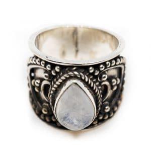 """Edelsteen Ring Maansteen 925 Zilver """"Verzera"""" (Maat 17)"""