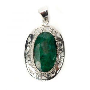 """Edelsteen Hanger Smaragd Kwarts 925 Zilver """"Ara"""""""