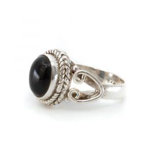 """Edelsteen Ring Zwarte Onyx 925 Zilver """"Dakishi"""" (Maat 17)"""