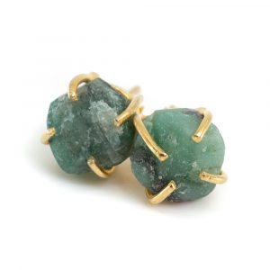 Edelsteen Oorstekers Ruwe Smaragd - 925 Zilver & Verguld
