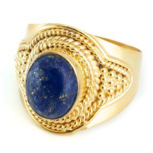 """Edelsteen Ring Lapis Lazuli 925 Zilver & Verguld """"Feze"""" (Maat 17)"""