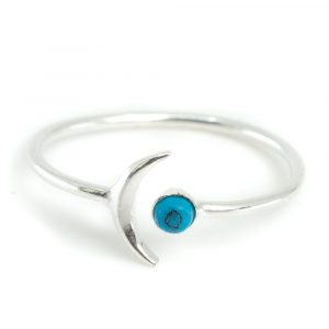 Geboortesteen Maan Ring Turkoois December - 925 Zilver - Zilverkleurig