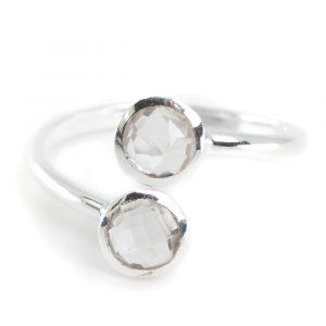 Geboortesteen Ring Bergkristal April - 925 Zilver - Zilverkleurig