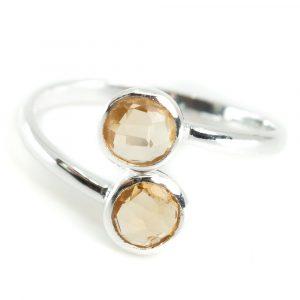 Geboortesteen Ring Citrien November - 925 Zilver - Zilverkleurig