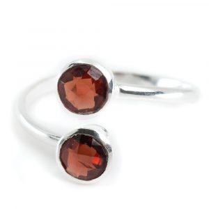 Geboortesteen Ring Granaat Januari - 925 Zilver - Zilverkleurig