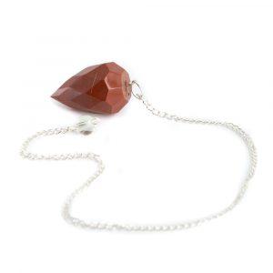 Pendel Edelsteen Rode Jaspis Diamant Geslepen