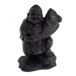 Shungiet Beeld Happy Boeddha met Heilige Vis Geperst