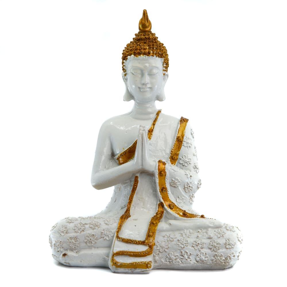 Spiru Thaise Boeddha Beeld Mediterend Polyresin Wit - 14 x 9 x 20 cm