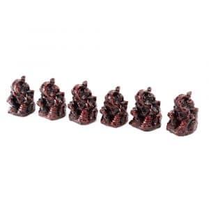 Ganesha Beeld Polyresin Rood - set van 6 - ca. 3 cm